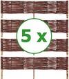 BOGATECO 5 x Beeteinfassung aus Weide   100 cm Lang & 20 cm Hoch   Holz-Zaun Rasenkante   Weiden-Zaun Steckzaun Perfekt für den Garten als Weg-Abgrenzung