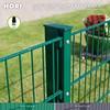 HORI® Doppelstabmattenzaun Komplettset 6/5/6 I mit Abdeckschiene I je 200 cm Mattenzaun I Länge 103 cm I Länge 10 m I Moosgrün I RAL 6005