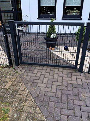 Hochwertiges Gartentor Hoftor / Tor-Einbau-Breite: 125 cm / Tor-Einbau-Höhe: 143 cm / Inklusive 2 Pfosten (60mm x 60mm) / Grau beschichtet / Mattentor Pforte