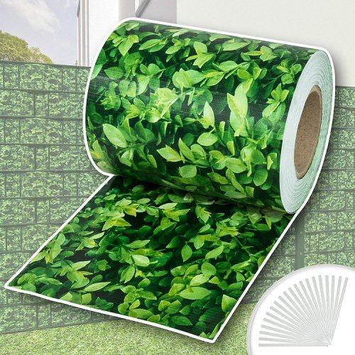 TecTake PVC Sichtschutzfolie Sichtschutzstreifen inkl. Befestigungsclips 450g/m² - diverse Modelle - (70m hellgrau | Nr. 401877)
