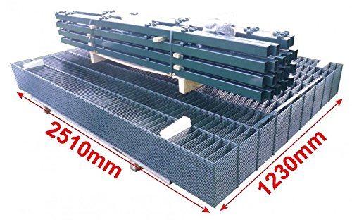 BBT@ / Doppelstab-Mattenzaun Komplett-Set / Anthrazit / 123cm hoch / 10m lang / Zaunanlage Gartenzaun Metallzaun Zaun