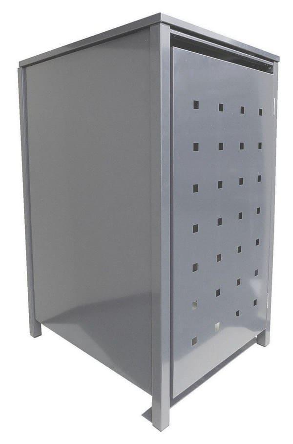 BBT@ | Solide Mülltonnenbox für 1 Tonne je 120 Liter mit Klappdeckel in Silber (RAL 9006) / Stanzung 2 / Aus robustem pulver-beschichtetem Metallblech / Versch. Farben + Blech-Stanzungen erhältlich / Mülltonnen-Verkleidung Müll-Boxen Müll-Container
