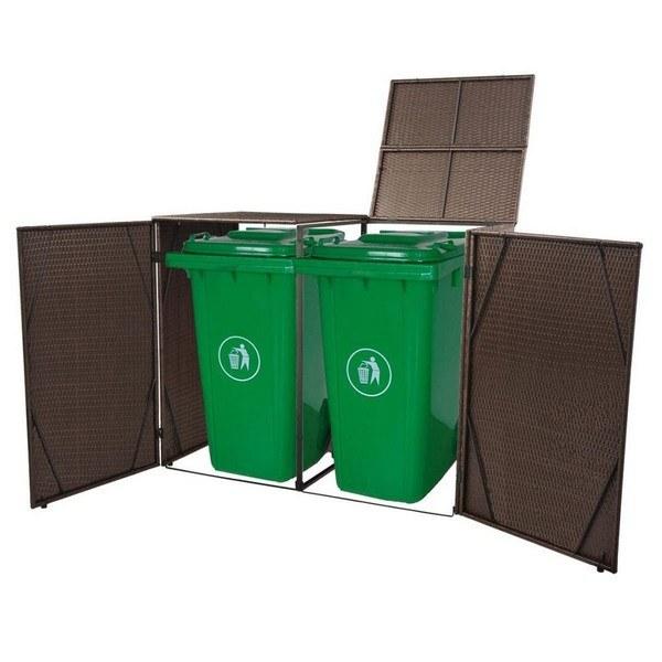 Festnight Mülltonnenbox Mülltonnenverkleidung Mülltonnenhaus für 2 Tonnen 240l Müllcontainer Poly Rattan Braun