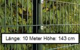 10 Meter Doppelstabmattenzaun Höhe 143 cm