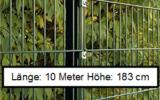 10 Meter Doppelstabmattenzaun Höhe 183 cm