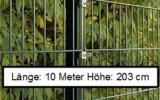 10 Meter Doppelstabmattenzaun Höhe 203 cm