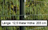 12,5 Meter Doppelstabmattenzaun Höhe 203 cm