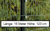 15 Meter Doppelstabmattenzaun Höhe 123 cm