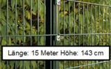 15 Meter Doppelstabmattenzaun Höhe 143 cm