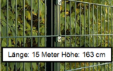 15 Meter Doppelstabmattenzaun Höhe 163 cm