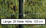 25 Meter Doppelstabmattenzaun Höhe 123 cm