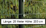 25 Meter Doppelstabmattenzaun Höhe 203 cm