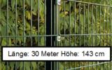 30 Meter Doppelstabmattenzaun Höhe 143 cm
