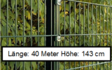 40 Meter Doppelstabmattenzaun Höhe 143 cm