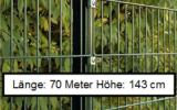 70 Meter Doppelstabmattenzaun Höhe 143 cm