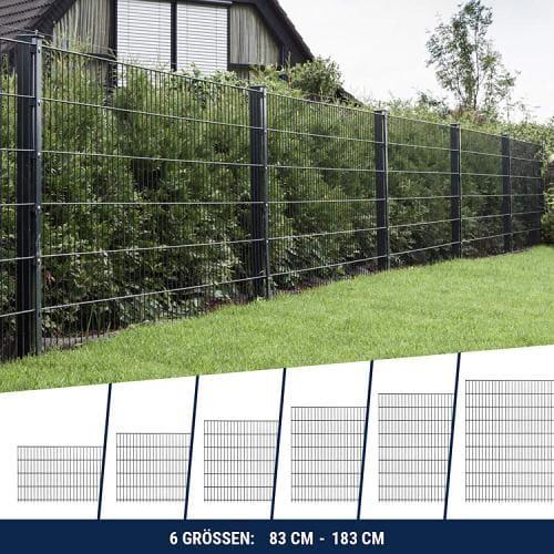 HORI® Doppelstabmattenzaun Komplettset in verschiedenen Längen und Höhen Anthrazit Grau RAL 7016