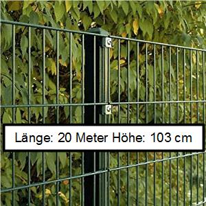 Doppelstabmattenzaun Länge 20m Höhe 103cm
