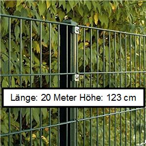 Doppelstabmattenzaun Länge 20m Höhe 123cm