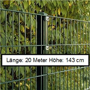 Doppelstabmattenzaun Länge 20m Höhe 143cm