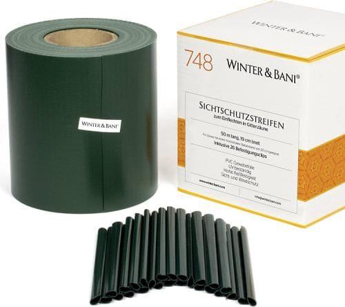 Winter & Bani Sichtschutzstreifen 50 Meter x 19 cm inkl. 26 Clips, Diverse Farben