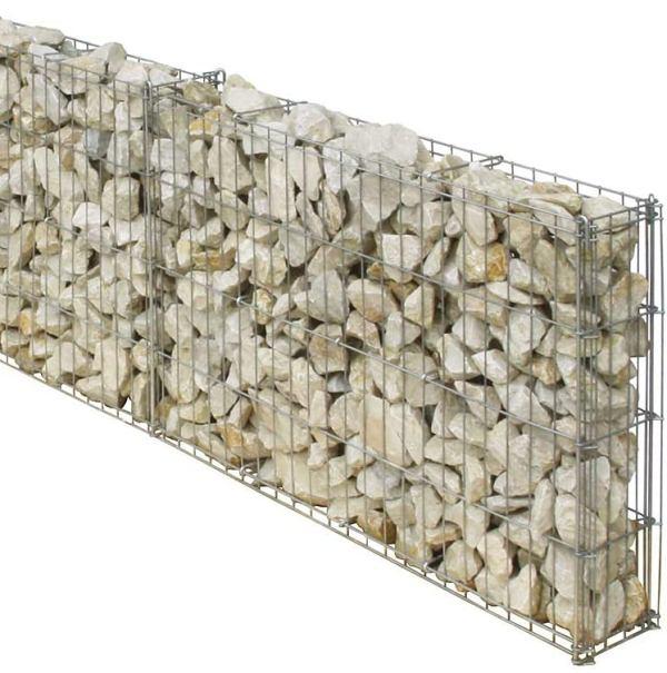 Als Beispiel wie es mit den Gabionenhaken aussehen kann, das bellissa Mauergitterset.