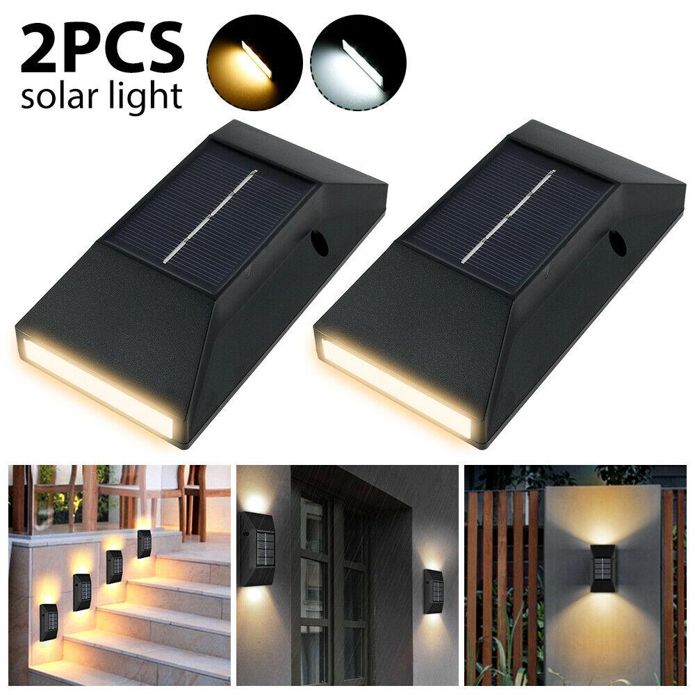 2X Solarleuchte LED Garten Beleuchtung Wandlampen Solar Licht Lampe Zaunleuchte