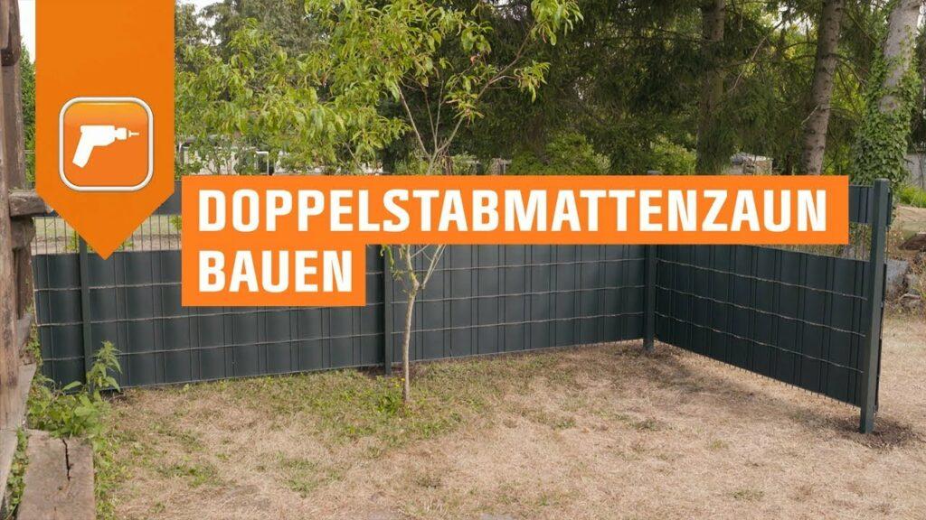 Doppelstabmattenzaun bauen mit Betonfundament oder Pfostenschuh | OBI