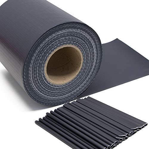 Stabmattenzaun Sichtschutz-Streifen, PVC Folie in Grau - anthrazit, 19cm hoch, 50m lang, inkl. 26 Befestigungs-Clips. Zubehör zum Verkleiden von Doppelstabmattenzäunen und Einzelstabmattenzäunen