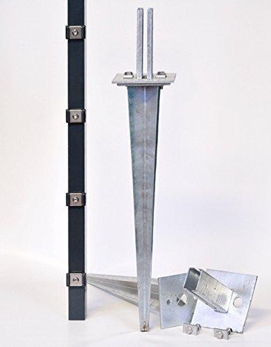 Zaun-Nagel Verstellbare Einschlaghülse 75 cm Doppelstabmattenzaun für Pfosten 60x40 mm Zäune