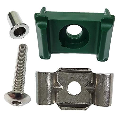 Zaun Pfosten Montagesatz Doppelstabzaun grün 6005 + Butterfly V2A 10 Stück 5,5mm Inbus und Nietgerät erforderlich!