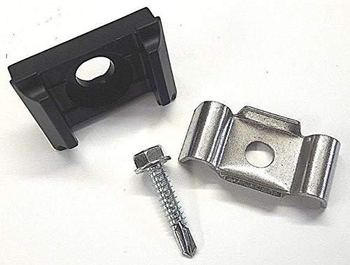 20 x KU Schwarz + Klemmlasche + Bohrschraube für Doppelstabmattenzaun Zaunpfosten Halter