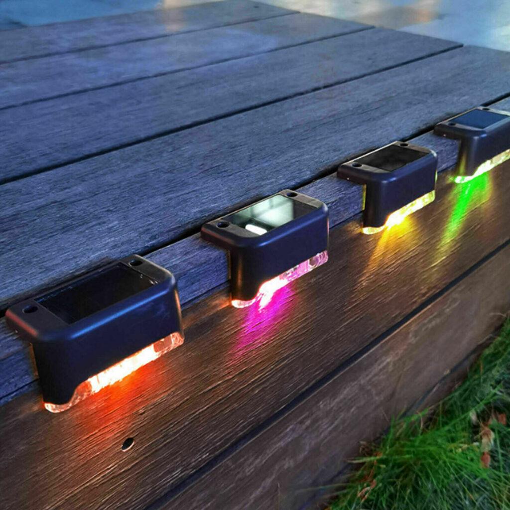 8-12X LED Solarleuchten Zaunleuchte Wandlampen Gartenleuchte Außen Treppen Lampe