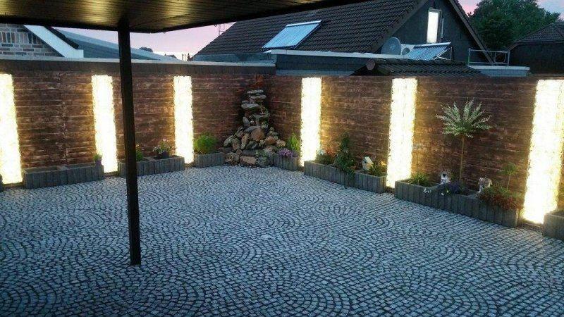 Led Gabionen Led Leuchte Steinzaun 50cm 360° warmweiß Garten #10645